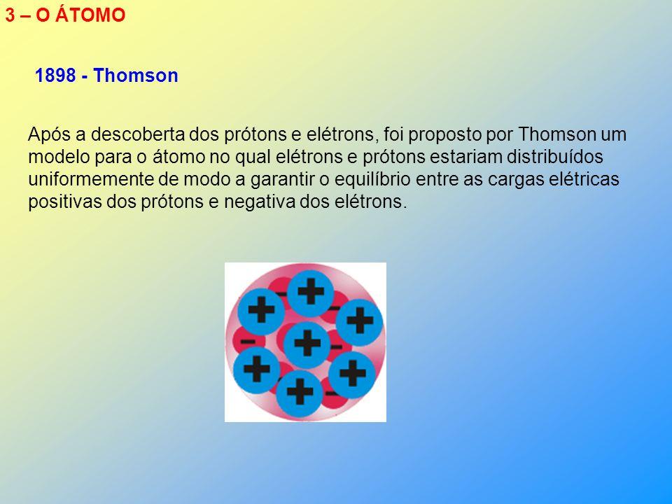 3 – O ÁTOMO 1898 - Thomson.