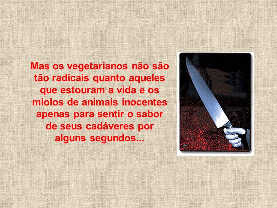 Mas os vegetarianos não são tão radicais quanto aqueles que estouram a vida e os miolos de animais inocentes apenas para sentir o sabor de seus cadáveres por alguns segundos...
