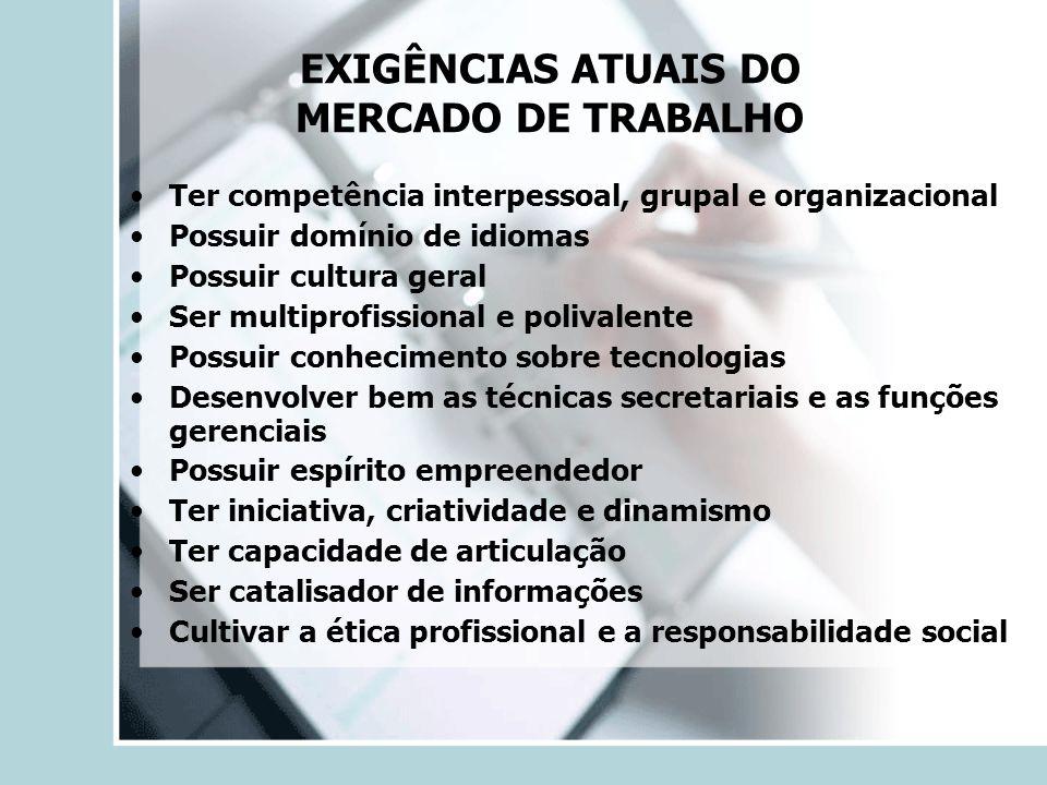 EXIGÊNCIAS ATUAIS DO MERCADO DE TRABALHO
