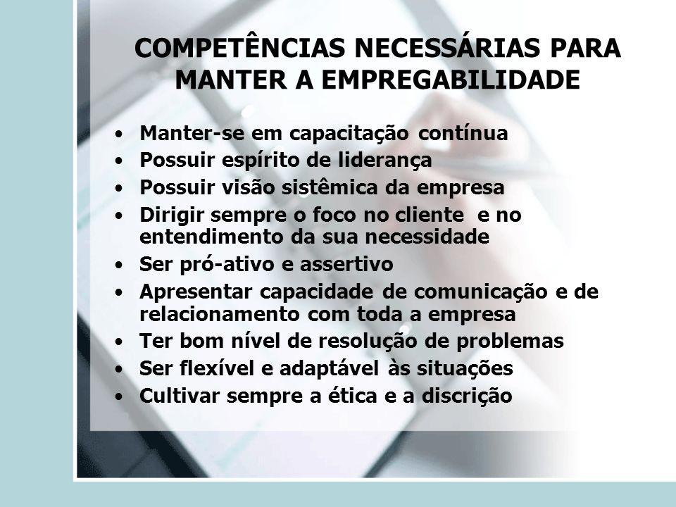 COMPETÊNCIAS NECESSÁRIAS PARA MANTER A EMPREGABILIDADE