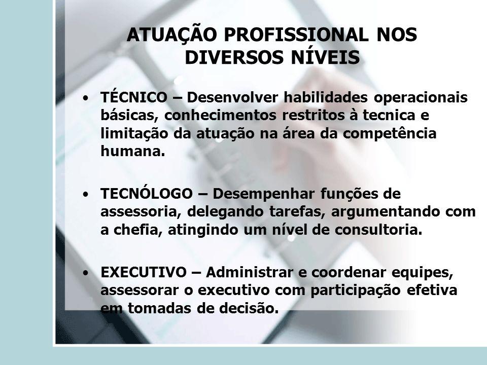 ATUAÇÃO PROFISSIONAL NOS DIVERSOS NÍVEIS