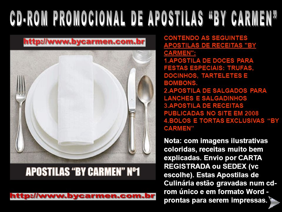 CD-ROM PROMOCIONAL DE APOSTILAS BY CARMEN