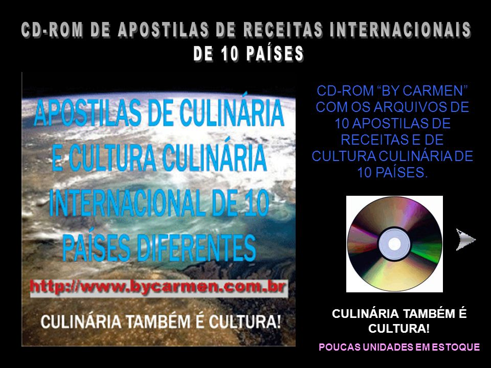 CD-ROM DE APOSTILAS DE RECEITAS INTERNACIONAIS DE 10 PAÍSES