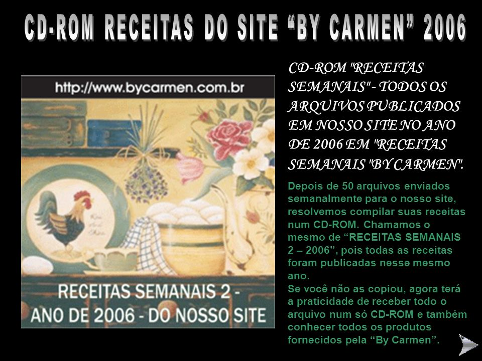 CD-ROM RECEITAS DO SITE BY CARMEN 2006