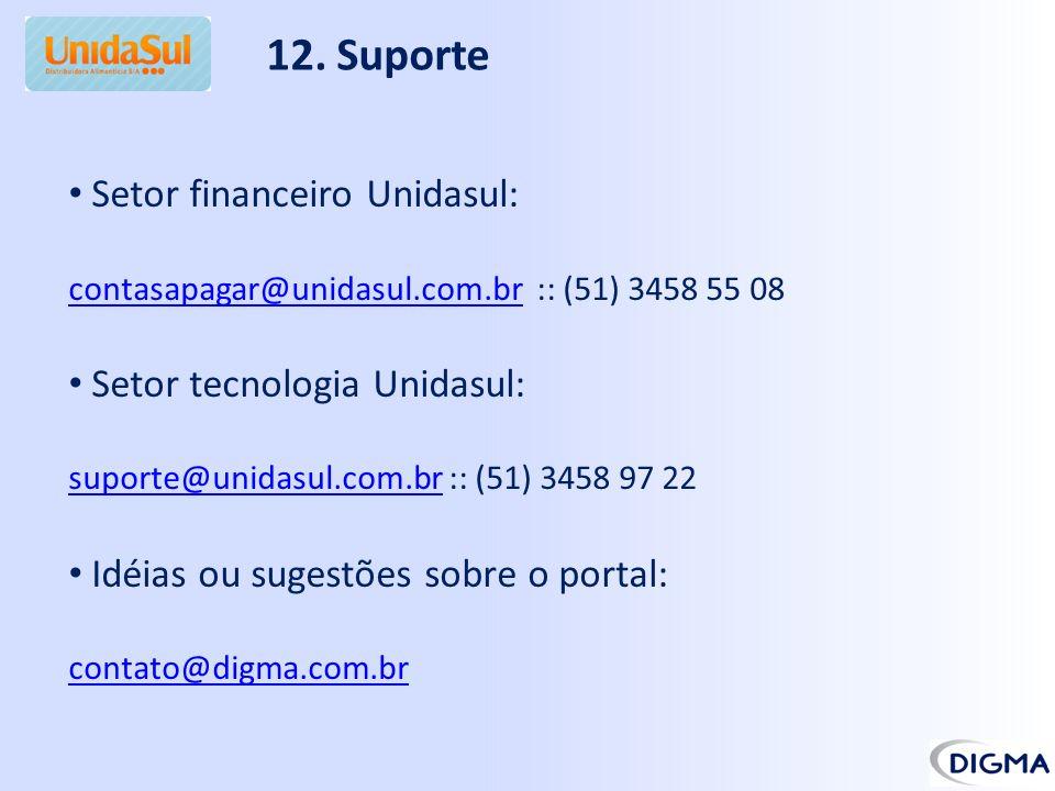 12. Suporte Setor financeiro Unidasul: Setor tecnologia Unidasul: