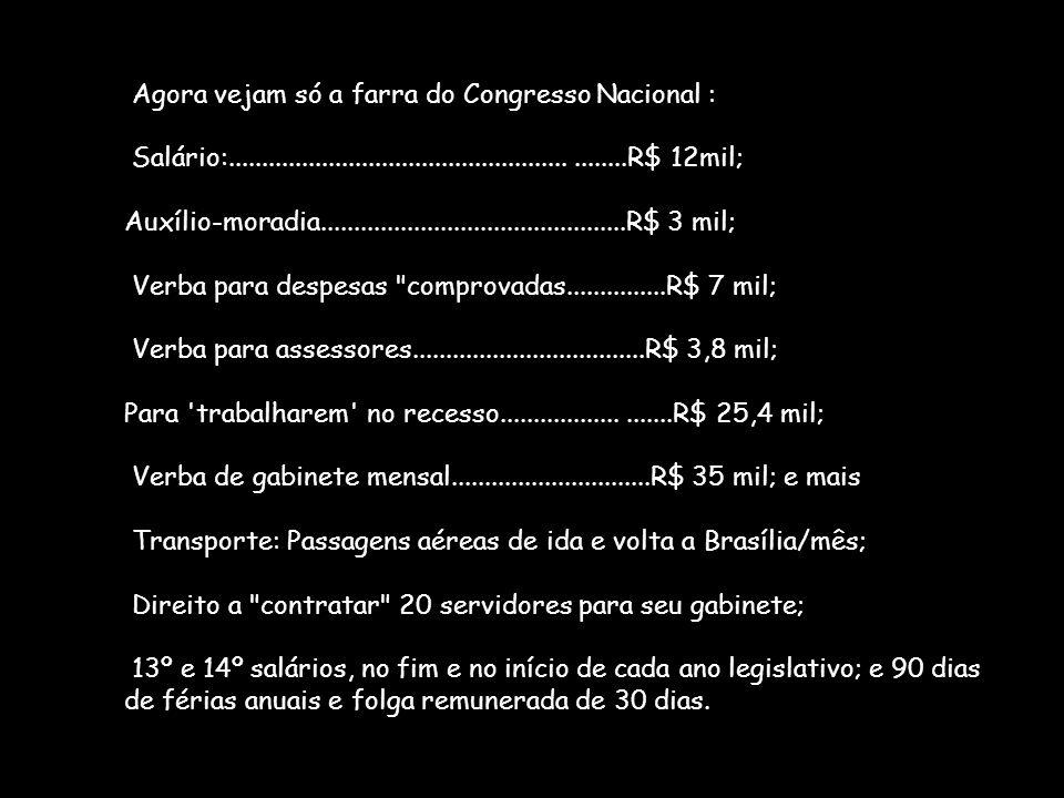 Agora vejam só a farra do Congresso Nacional : Salário: