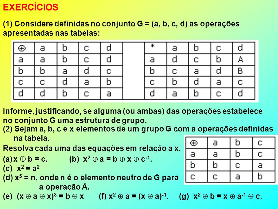 EXERCÍCIOS (1) Considere definidas no conjunto G = (a, b, c, d) as operações apresentadas nas tabelas: