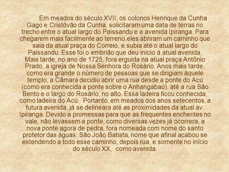 Em meados do século XVII, os colonos Henrique da Cunha Gago e Cristóvão da Cunha, solicitaram uma data de terras no trecho entre o atual largo do Paissandu e a avenida Ipiranga.