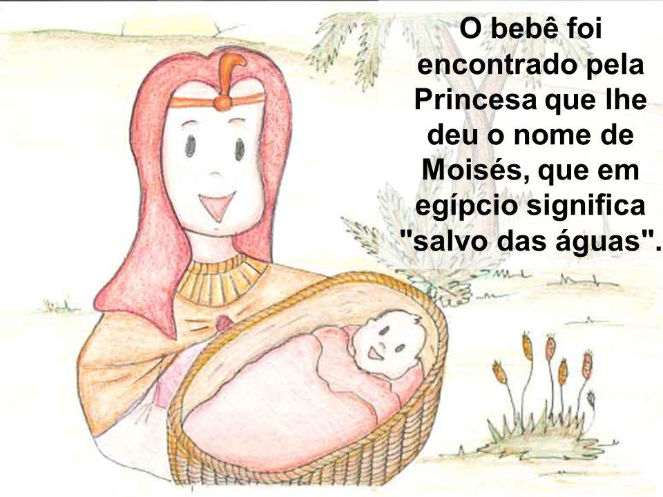O bebê foi encontrado pela Princesa que lhe deu o nome de Moisés, que em egípcio significa salvo das águas .