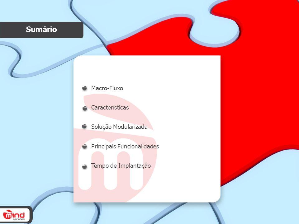 Sumário Macro-Fluxo Características Solução Modularizada