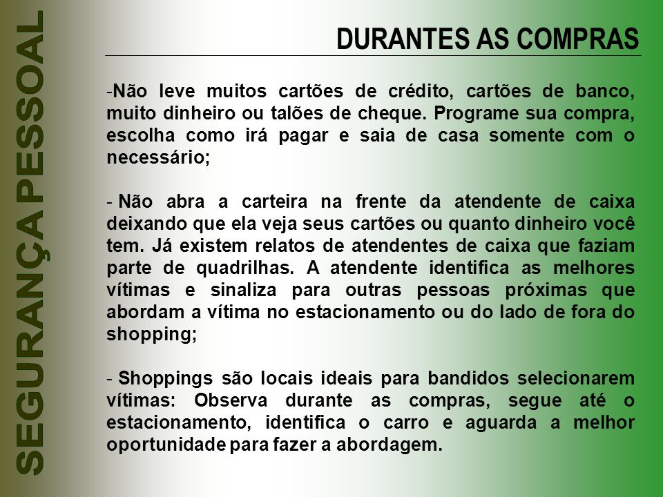 DURANTES AS COMPRAS