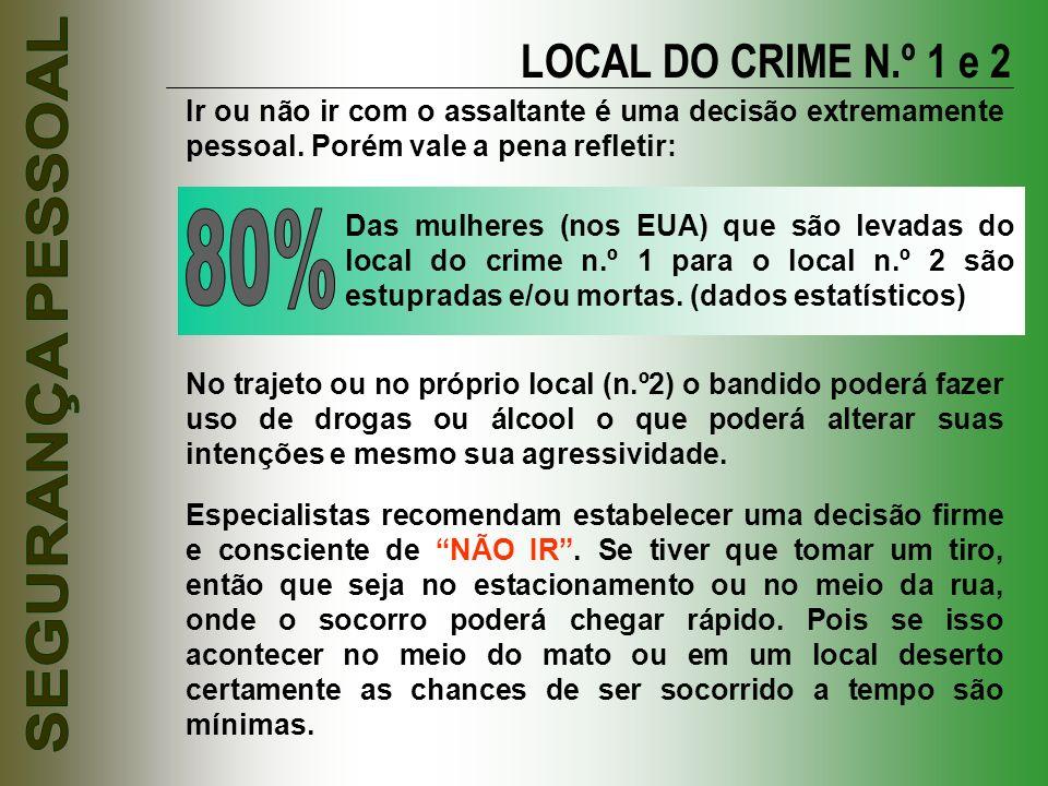 LOCAL DO CRIME N.º 1 e 2 Ir ou não ir com o assaltante é uma decisão extremamente pessoal. Porém vale a pena refletir: