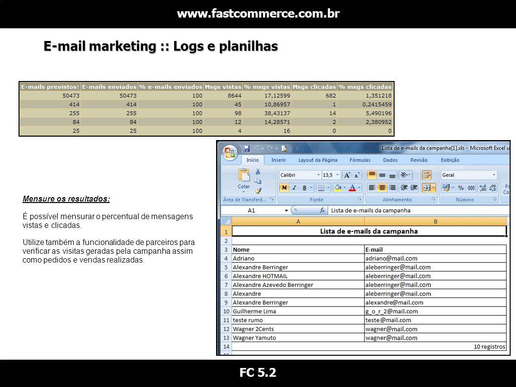 E-mail marketing :: Logs e planilhas