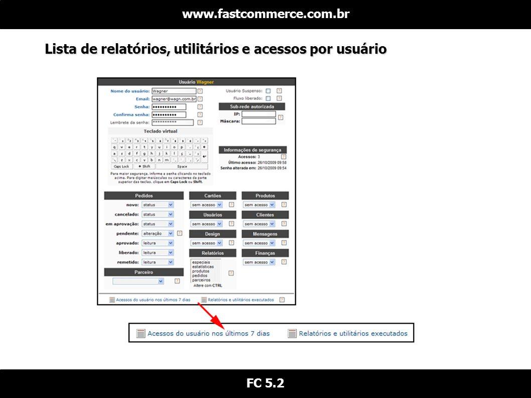 Lista de relatórios, utilitários e acessos por usuário