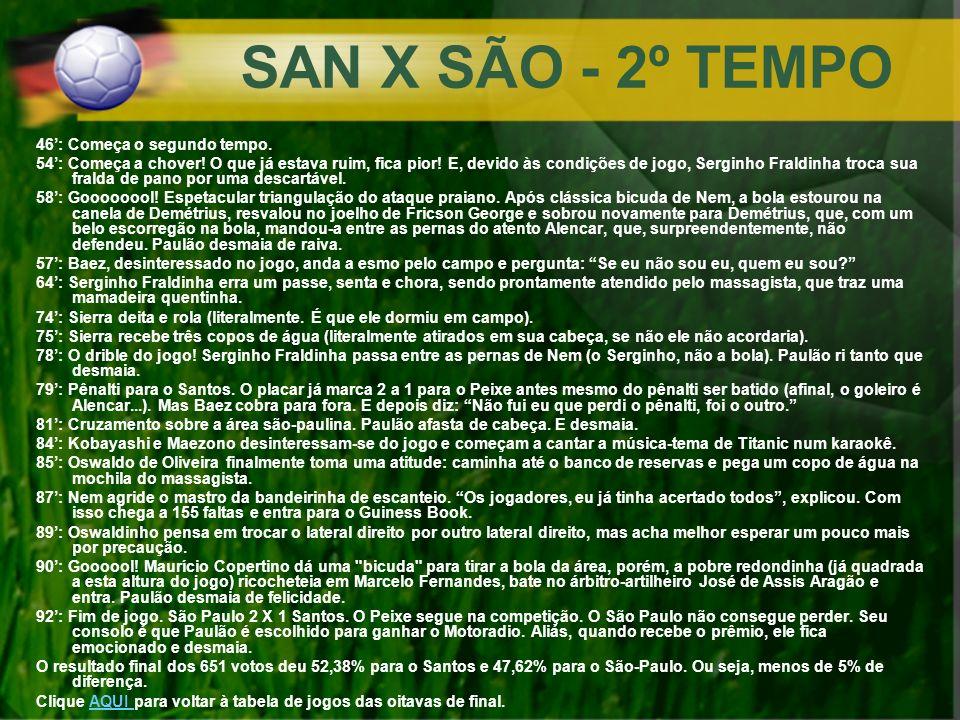 SAN X SÃO - 2º TEMPO 46': Começa o segundo tempo.