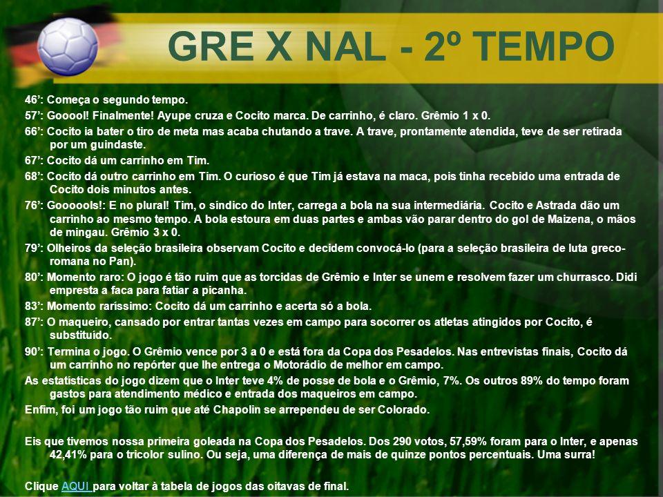 GRE X NAL - 2º TEMPO 46': Começa o segundo tempo.