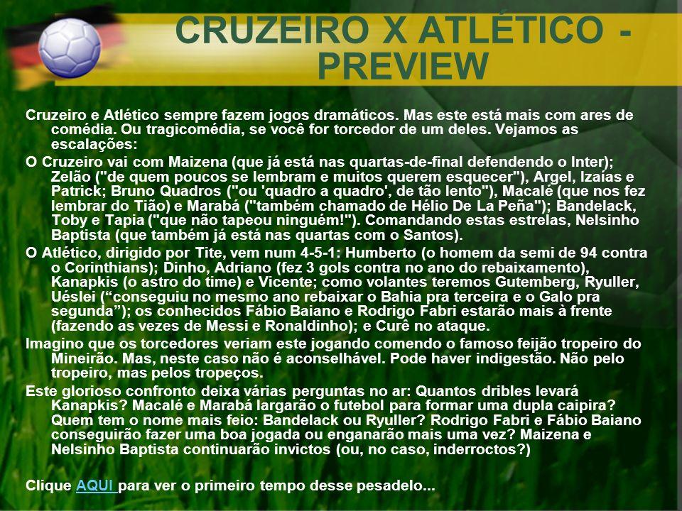 CRUZEIRO X ATLÉTICO - PREVIEW