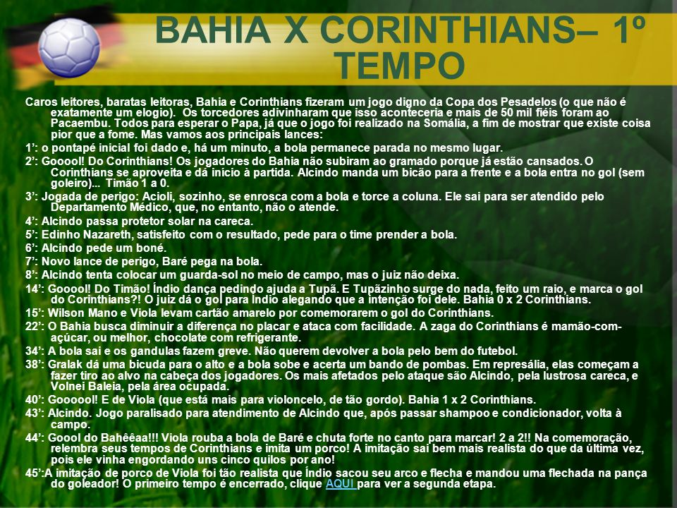 BAHIA X CORINTHIANS– 1º TEMPO