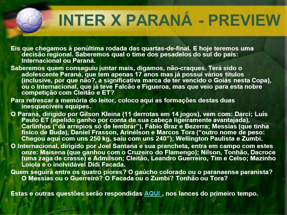 INTER X PARANÁ - PREVIEW