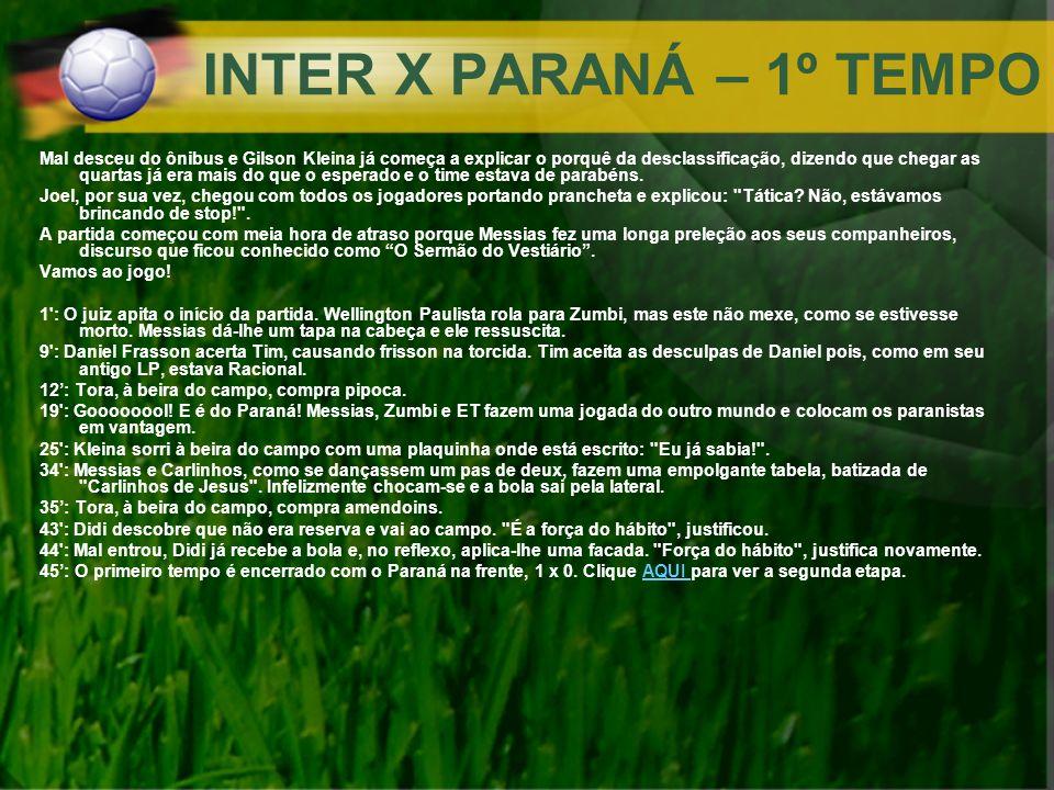INTER X PARANÁ – 1º TEMPO