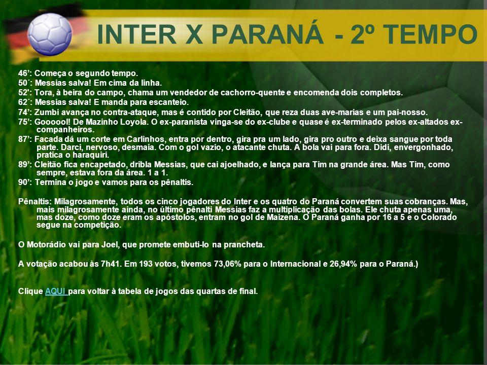 INTER X PARANÁ - 2º TEMPO 46': Começa o segundo tempo.