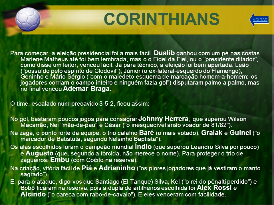 CORINTHIANS VOLTAR.
