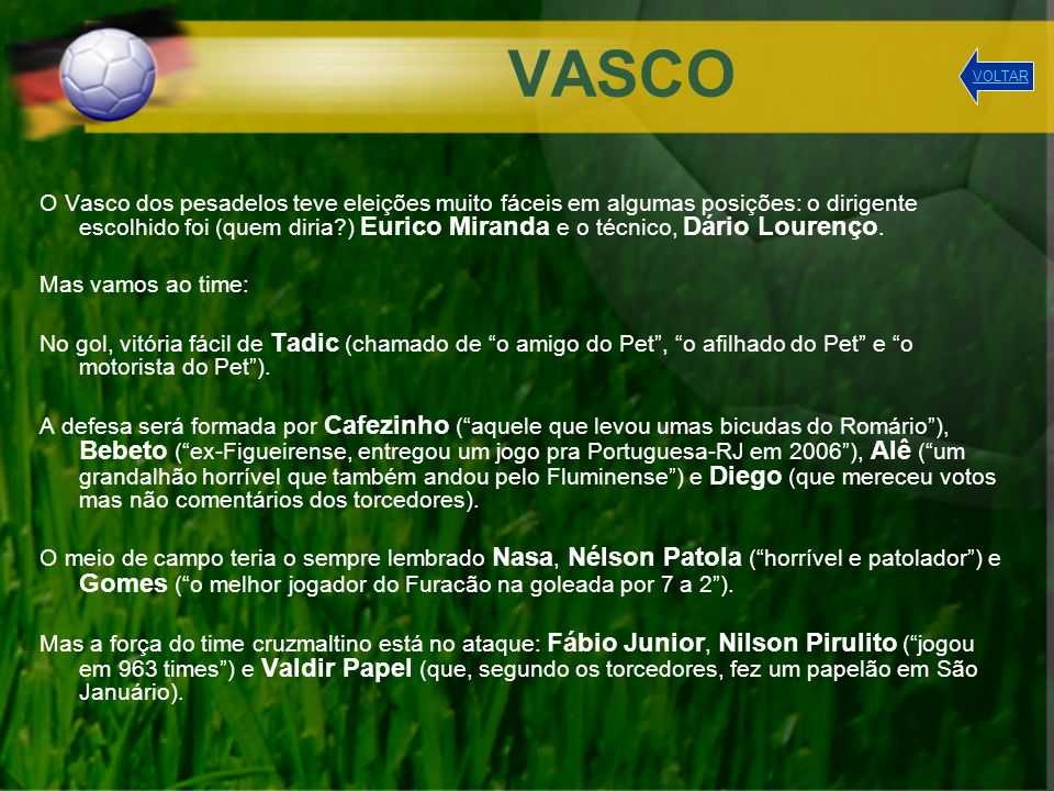 VASCO VOLTAR.