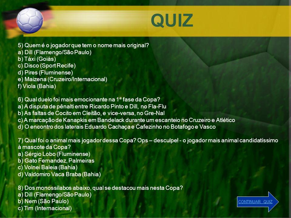 QUIZ 5) Quem é o jogador que tem o nome mais original