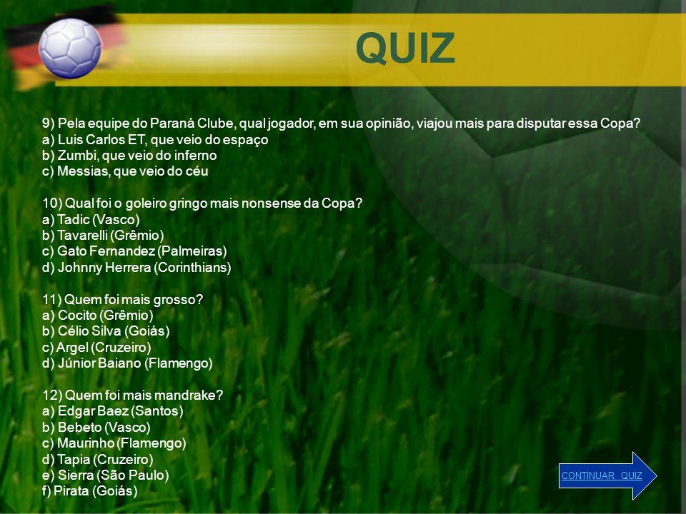 QUIZ 9) Pela equipe do Paraná Clube, qual jogador, em sua opinião, viajou mais para disputar essa Copa