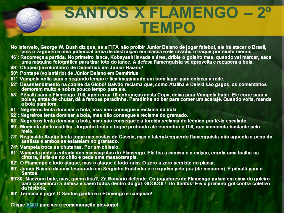 SANTOS X FLAMENGO – 2º TEMPO