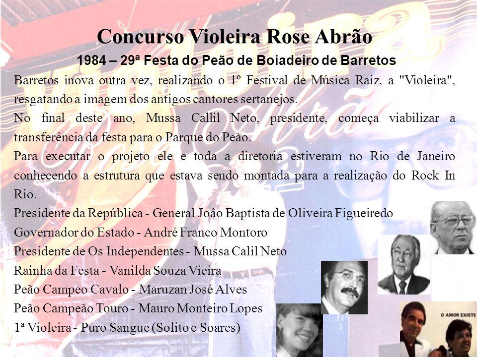 Concurso Violeira Rose Abrão 1984 – 29ª Festa do Peão de Boiadeiro de Barretos