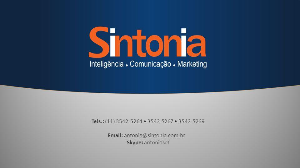 Tels.: (11) 3542-5264 • 3542-5267 • 3542-5269 Email: antonio@sintonia.com.br Skype: antonioset