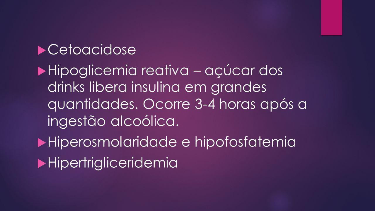 Cetoacidose Hipoglicemia reativa – açúcar dos drinks libera insulina em grandes quantidades. Ocorre 3-4 horas após a ingestão alcoólica.