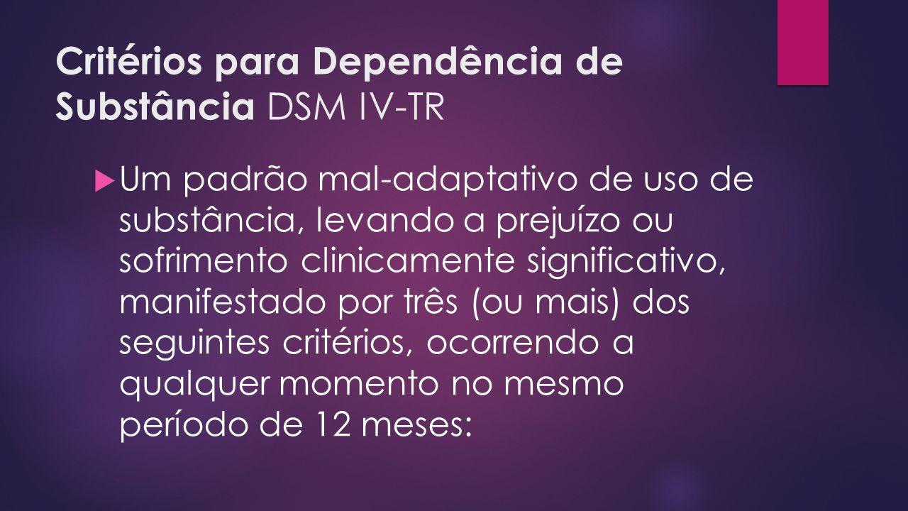 Critérios para Dependência de Substância DSM IV-TR