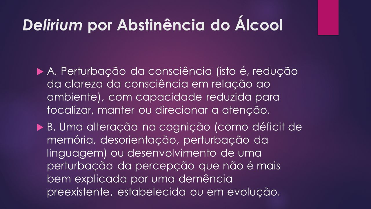 Delirium por Abstinência do Álcool