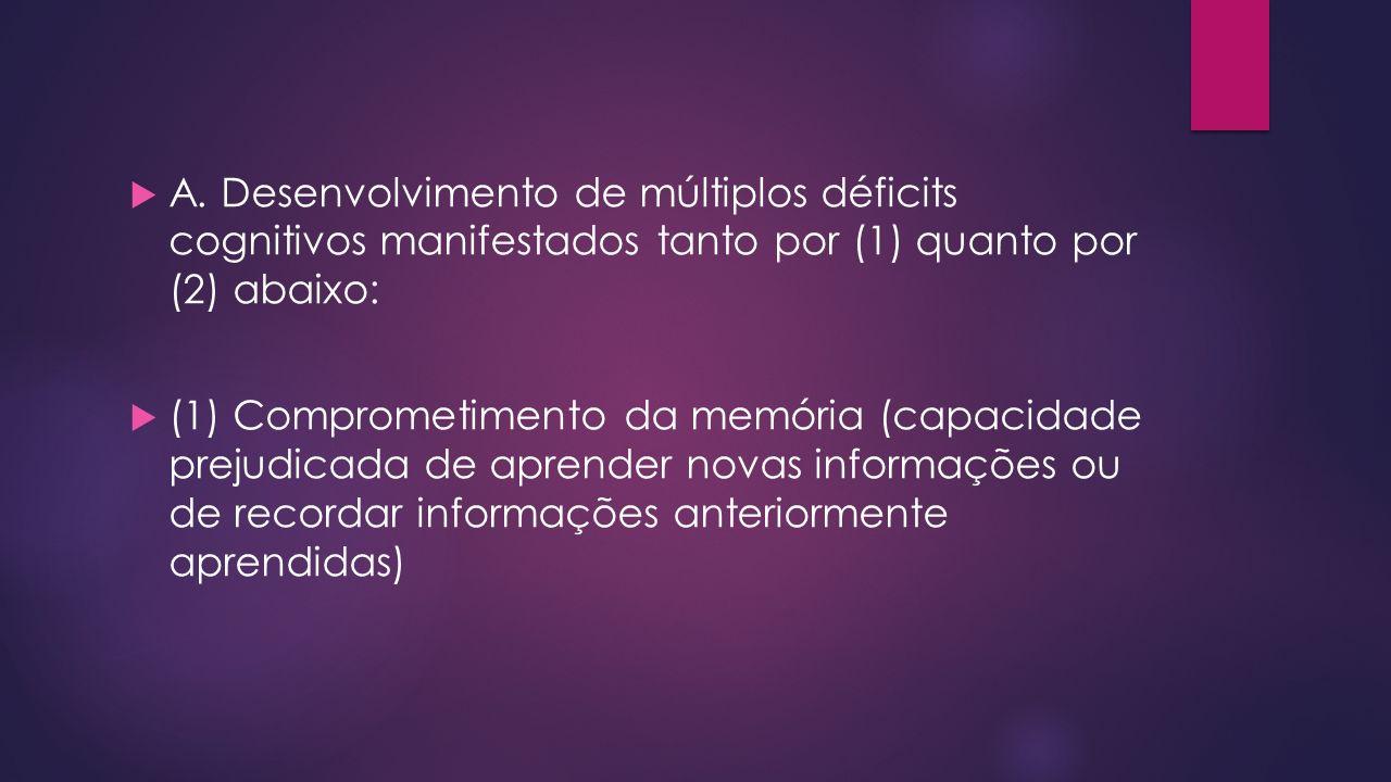 A. Desenvolvimento de múltiplos déficits cognitivos manifestados tanto por (1) quanto por (2) abaixo: