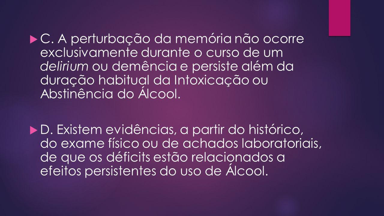 C. A perturbação da memória não ocorre exclusivamente durante o curso de um delirium ou demência e persiste além da duração habitual da Intoxicação ou Abstinência do Álcool.