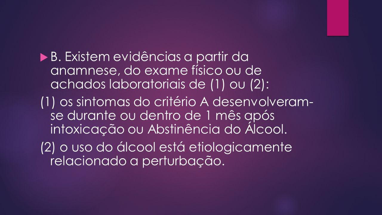 B. Existem evidências a partir da anamnese, do exame físico ou de achados laboratoriais de (1) ou (2):