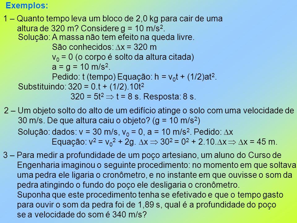 Exemplos: 1 – Quanto tempo leva um bloco de 2,0 kg para cair de uma. altura de 320 m Considere g = 10 m/s2.
