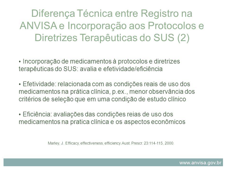 Diferença Técnica entre Registro na ANVISA e Incorporação aos Protocolos e Diretrizes Terapêuticas do SUS (2)