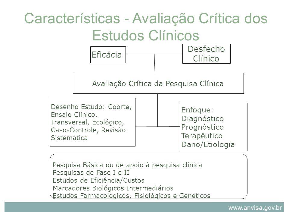 Características - Avaliação Crítica dos Estudos Clínicos