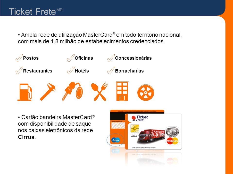 Ticket FreteMD. • Ampla rede de utilização MasterCard® em todo território nacional, com mais de 1,8 milhão de estabelecimentos credenciados.
