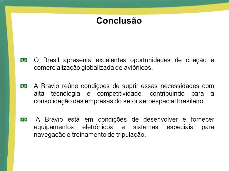 Conclusão O Brasil apresenta excelentes oportunidades de criação e comercialização globalizada de aviônicos.