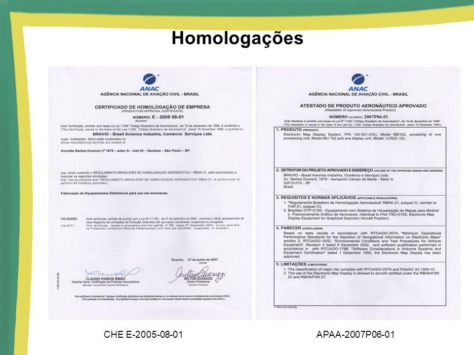 Homologações CHE E-2005-08-01 APAA-2007P06-01