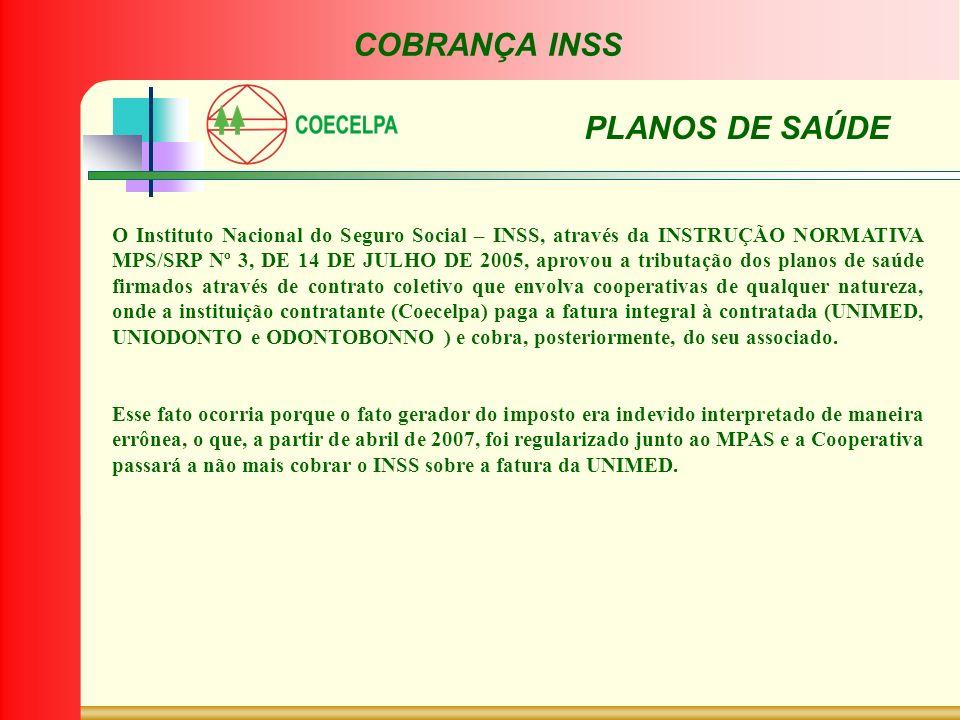 COBRANÇA INSS PLANOS DE SAÚDE