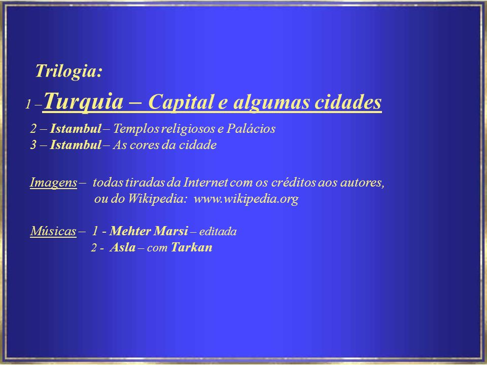 1 –Turquia – Capital e algumas cidades