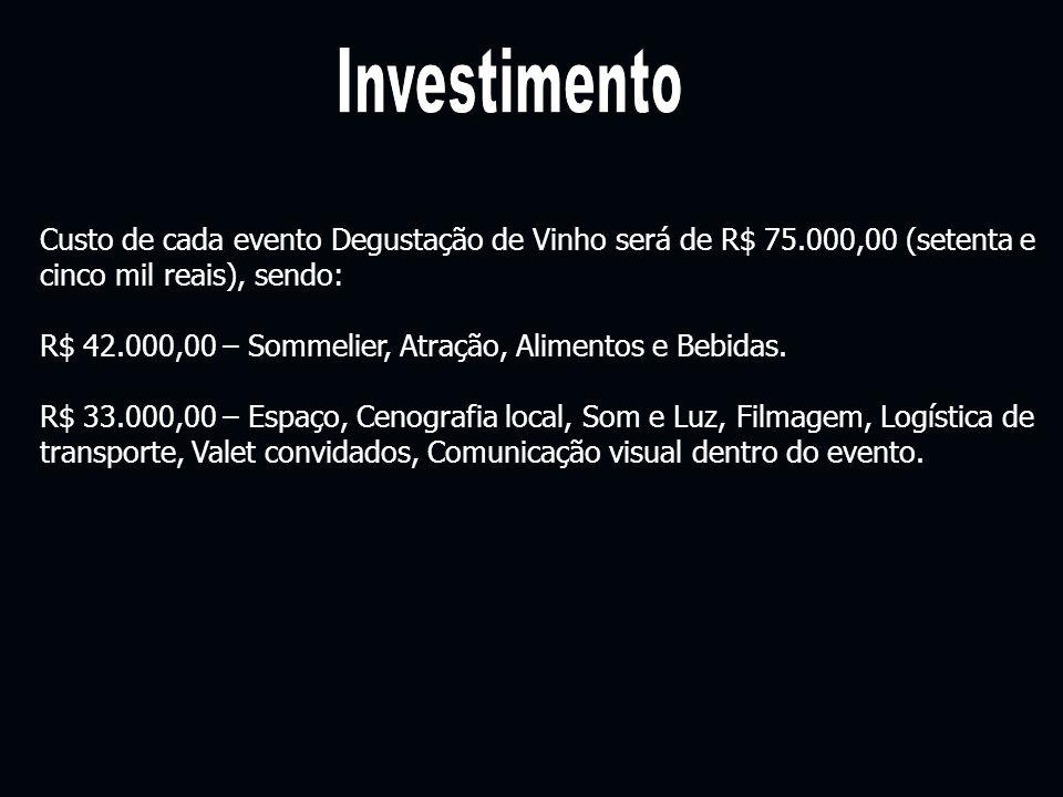 Investimento Custo de cada evento Degustação de Vinho será de R$ 75.000,00 (setenta e cinco mil reais), sendo:
