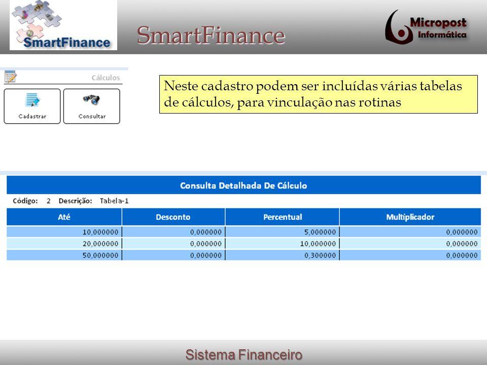 SmartFinance Neste cadastro podem ser incluídas várias tabelas de cálculos, para vinculação nas rotinas.