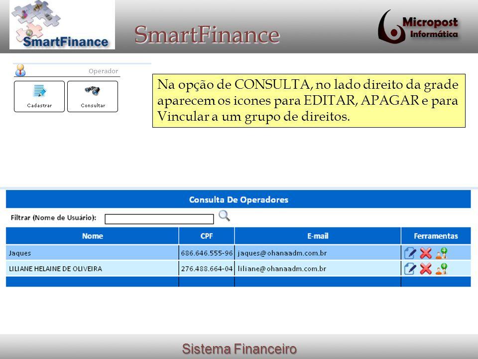 SmartFinance Na opção de CONSULTA, no lado direito da grade aparecem os icones para EDITAR, APAGAR e para Vincular a um grupo de direitos.