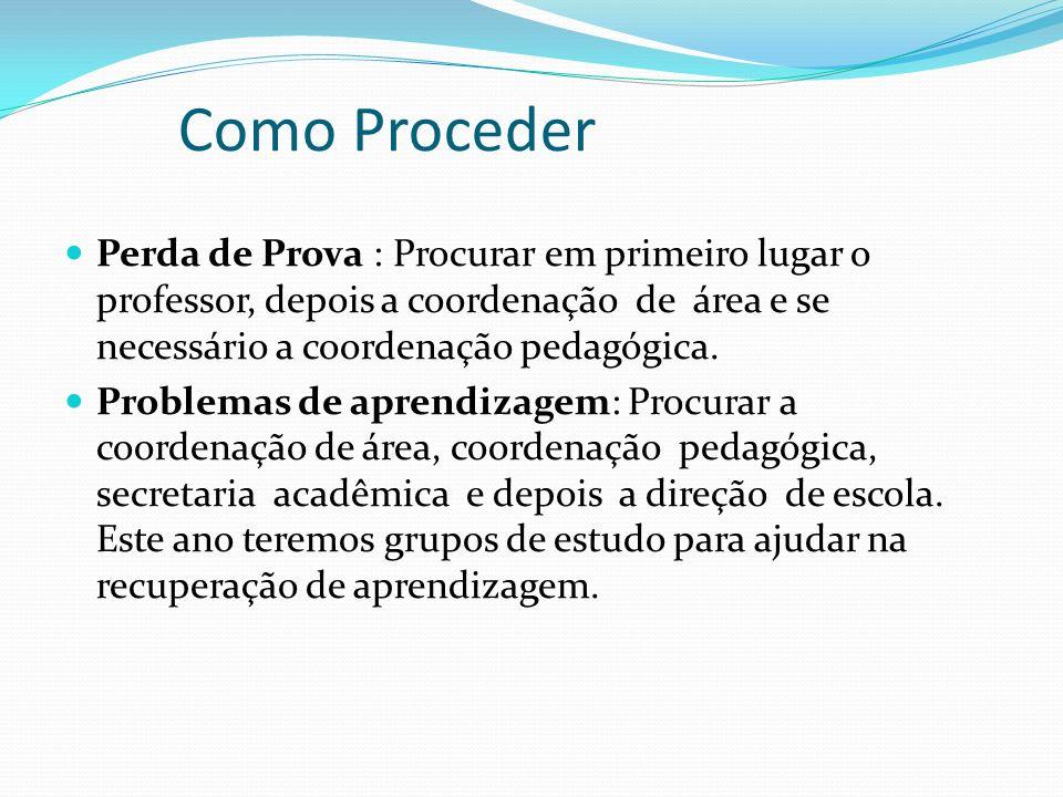 Como Proceder Perda de Prova : Procurar em primeiro lugar o professor, depois a coordenação de área e se necessário a coordenação pedagógica.